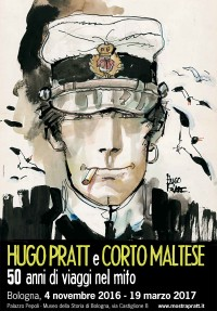 Locandina mostra di Bologna su Hugo Pratt e Corto Maltese